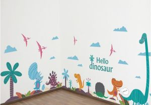 Wall Murals with Words Hello Dinosaur Wall Art Decals Diy Nursery and Kids Room Wall Art Stickers Cartoon Animals Murals Home Decor Stickers for Your Wall Stickers