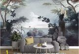 Wall Of Birds Mural Murwall Dark Trees Painting Wallpaper Seascape and Pelican