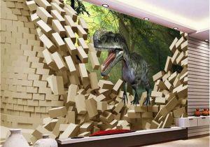Wall Sized Mural Wallpaper 3d Dinosaur Break Wall Tree Wallpaper Wall Art Print Mural