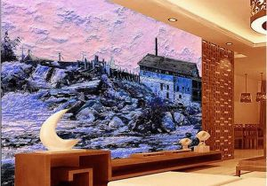 Wall Sized Mural Wallpaper Custom Size 3d Wallpaper Living Room Mural Snow Scenery Country House Oil Painting sofa Tv Backdrop Wallpaper Non Woven Wall Sticker Wallpaper