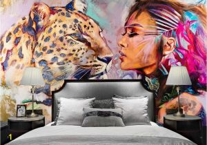 Wall Sized Mural Wallpaper Tiger Wallpaper Watercolor Woman Wall Mural Wild Life Wall