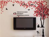 Wall Stickers and Murals Acrylic 3d Tree Cat Wall Sticker Decal Home Living Room Background Mural Decor