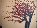 Wall Tree Mural Painting Burgundy and Navy Tree Mural In 2019