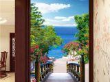 Wallpaper Murals for Doors 3d Bridge Beach Tree Corridor Entrance Wall Mural Decals Art Print