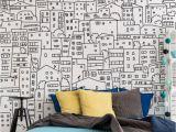 Wallpaper Wall Art Murals Black and White City Sketch Mural