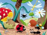 Walltastic Paradise Beach Wall Mural Cartoon forest Life Insects Mushroom Wall Mural Non Woven Wallpaper