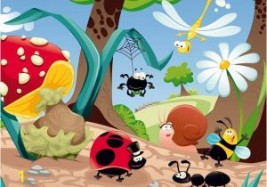 Walltastic Paradise Beach Wall Mural Cartoon forest Life Insects Mushroom Wall Mural Non Woven Wallpaper