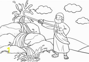 Water From the Rock Coloring Page Moses Strikes the Rock with His Staff Coloring Page