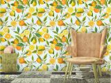 Watercolor Floral Wall Mural Lemon Wallpaper Watercolor Fruit Wall Mural Self Adhesive
