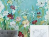 Watercolor Floral Wall Mural Wildflowers and Lace In 2019