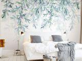 Watercolor Wall Mural Diy Custom Wallpaper Modern Green Leaves Watercolor Style