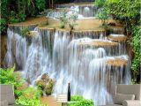 Waterfall Murals for Walls Custom 3d Wallpaper Hd Green Landscape Waterfall Beautiful Tv