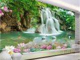 Waterfall Murals for Walls Custom 3d Wallpaper Waterfall Landscape Mural Wall Painting