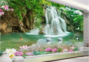Waterfall Murals for Walls Custom 3d Wallpaper Waterfall Landscape Mural Wall Painting