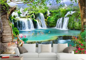 Waterfall Murals for Walls Custom Any Size Green forest Waterfall Nature Landscape 3d Mural