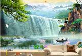 Waterfall Murals for Walls Custom Wallpaper Waterfalls 3d Stereoscopic Waterfalls
