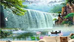 Waterfall Murals for Walls Custom Wallpaper Waterfalls 3d Stereoscopic Waterfalls
