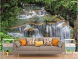 Waterfall Murals for Walls Jungle Waterfall Peel & Stick Wall Mural Wallpaper Eco