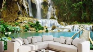 Waterfall Wall Murals Cheap 3d forest Waterfall Wallpaper Lake and Bridge Wall