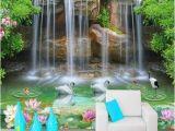 Waterfall Wall Murals Cheap 3d Waterfall Pool Swans and Fish Pattern Wallpaper Wall