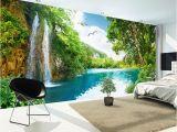 Waterfall Wallpaper Wall Mural Custom 3d Wall Mural Wallpaper Home Decor Green Mountain