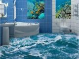 Waterproof Bathroom Murals Custom 3d Floor Mural Wallpaper Sea Water Wave Bathroom 3d Floor