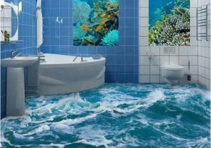 Waterproof Bathroom Murals Custom 3d Floor Mural Wallpaper Sea Water Wave Bathroom 3d Floor