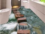 Waterproof Bathroom Murals Custom 3d Floor Wallpaper Modern Art River Stones Bathroom Floor