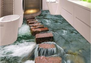 Waterproof Bathroom Murals Custom 3d Floor Wallpaper Modern Art River Stones Bathroom Floor