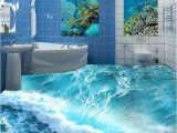 Waterproof Bathroom Murals Custom Floor Mural Ocean Seawater Bathroom Floor Vinyl Wallpaper