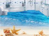 Waterproof Bathroom Murals Custom Mural Wallpaper 3d Beach Sea Wave Painting Sticker