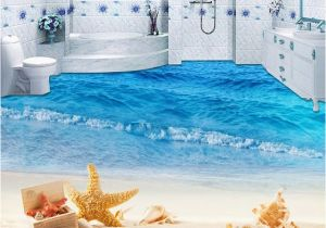 Waterproof Bathroom Murals Custom Mural Wallpaper 3d Beach Sea Wave Painting Sticker