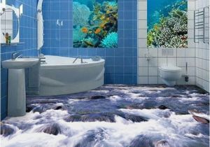 Waterproof Bathroom Murals Custom Mural Wallpaper 3d Little Brook Bathroom Floor Pvc Waterproof