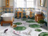 Waterproof Bathroom Murals Custom Wall Mural Marble Pattern Lotus Leaf Fish 3d Floor Decoration