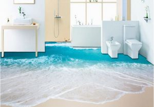 Waterproof Bathroom Murals Pvc Self Adhesive Waterproof 3d Floor Murals Sea Wave Bathroom