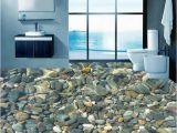 Waterproof Bathroom Murals Wallpaper 3d Realistic Underwater Cobblestone Floor Tiles