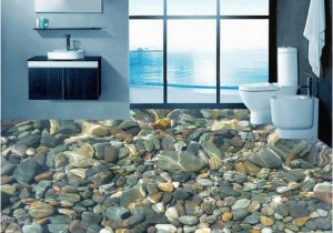 Waterproof Bathroom Murals Wallpaper 3d Realistic Underwater Cobblestone Floor Tiles