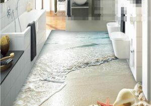 Waterproof Bathroom Murals wholesale Modern Sticker 3d Floor Bathroom Mural Hd Ocean Beach