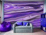 Wave Murals for Walls Purple Waves Abstract Art Digital Fluid Artwork Peel and