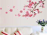 Weatherproof Garden Wall Murals 120x50cm Cherry Blossom Flower Wall Stickers Waterproof Living Room