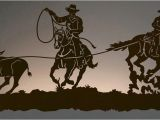 Western Cowboy Wall Murals Team Roper Cowboys Back Lit Wall Art 42 Inch