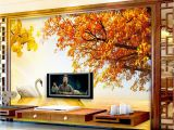 Western Wallpaper Murals Custom Retail Gold Swan Lake sofa Background Wall Sunset West Red