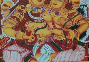 What are Mural Paintings Kerala Mural Painting Lord Shiva and Parvathi by athira K S