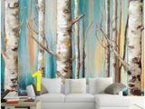 White Birch Wall Mural Custom 3d Mural Wallpaper Modern White Birch Trees Oil Painting Tv sofa Backdrop Wallpaper Living Room Bedroom Wall