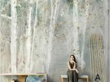 White Birch Wall Mural Oil Painting Abstract Birch Trees Wallpaper Wall Mural