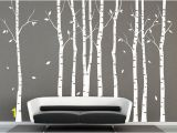 White Birch Wall Mural Pin On Black and White
