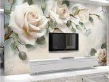 White Flower Wall Mural 3d Custom Modern Wallpaper Mural Painting White Rose Flowers for Living Room Bedroom Tv Background Floral Home Decor Paper Free High Res