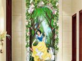 White Flower Wall Mural 3d Snow White Princess Flower Arch forest Corridor Entrance