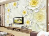 White Flower Wall Mural Custom 3d Mural Wallpaper Modern White Flower Stereo Relief Fresco Living Room Hotel Backdrop Wall Decor Wallpaper for Walls 3 D Wallpaper Hd