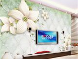 White Flower Wall Mural Custom Modern Simple White Flowers Mural Wallpaper Living Room Bedroom Interior Cozy Decor Wallpaper Roll Papel De Parede Floral Animation Wallpaper